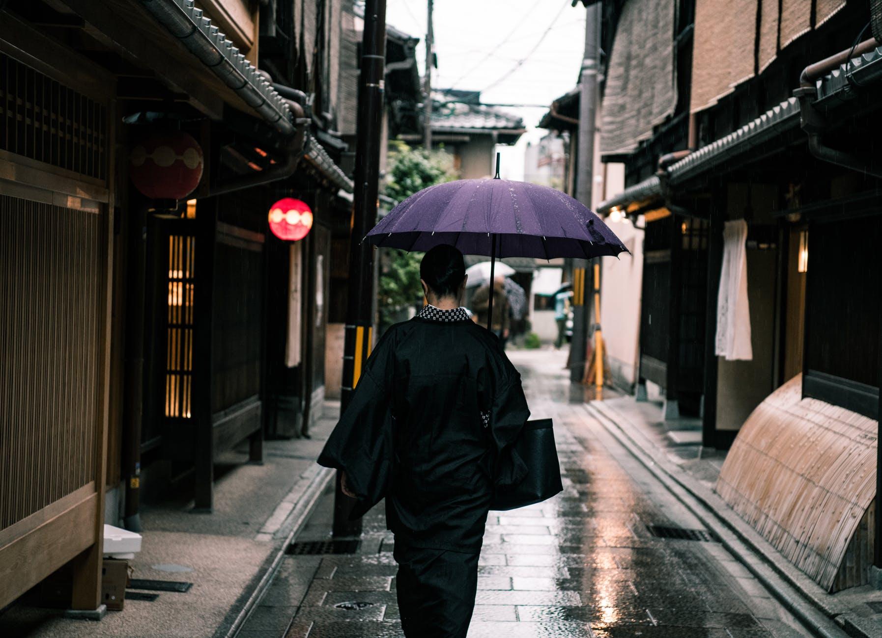 woman using purple umbrella walking in the street