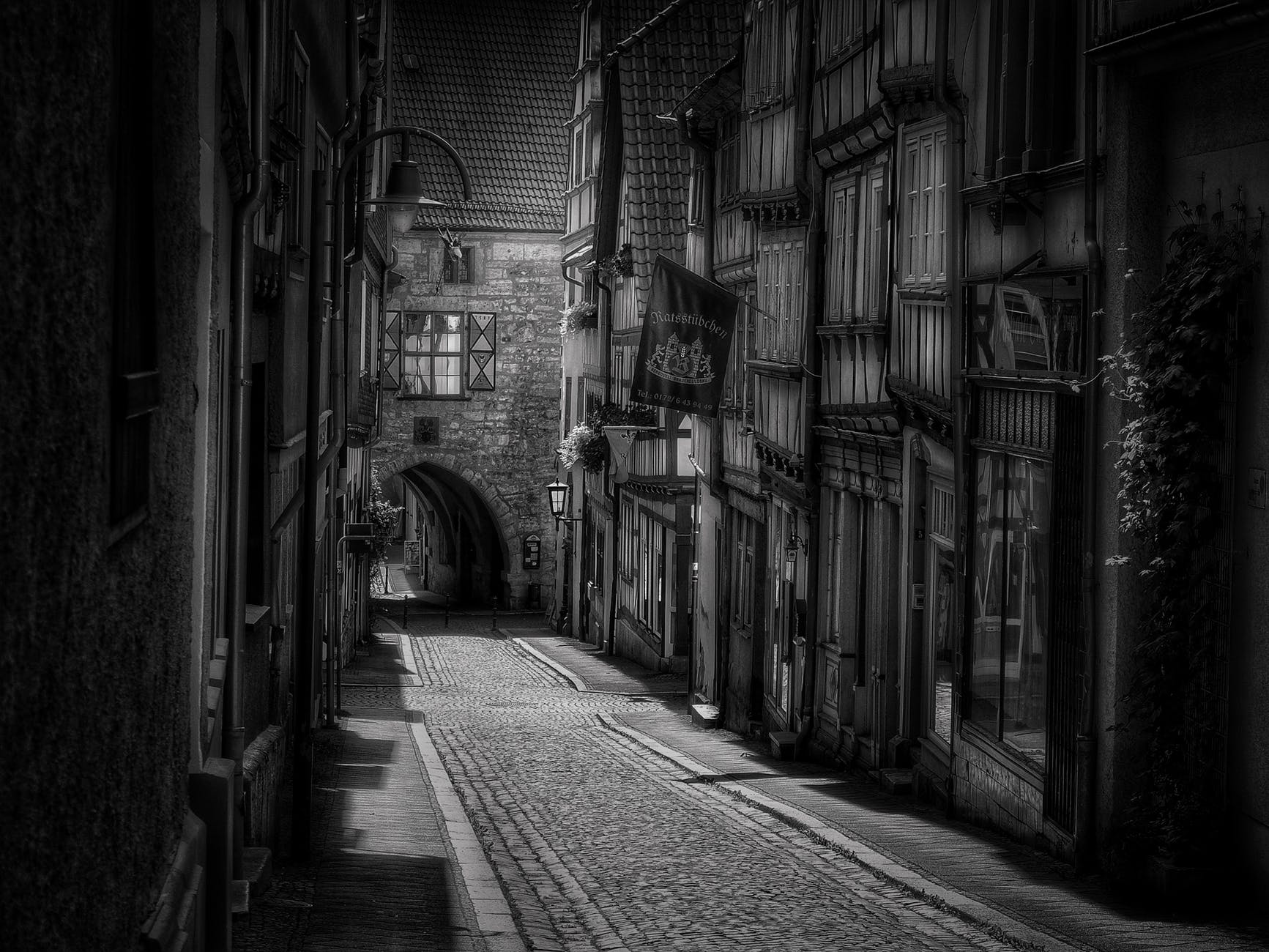 road town old town black white
